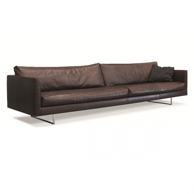 sofa med chaiselong brun