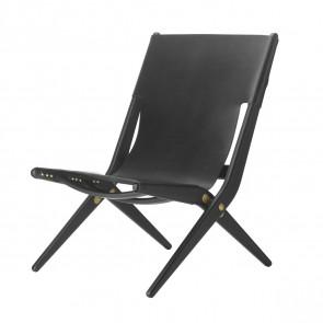 Saxe stol - Sortbejdset eg / sort læder
